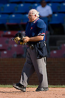 Home plate umpire Steve Lutz after taking a foul ball off the facemask during a Carolina League game between the Potomac Nationals and the Winston-Salem Dash at Wake Forest Baseball Park May 10, 2009 in Winston-Salem, North Carolina. (Photo by Brian Westerholt / Four Seam Images)