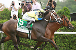 Desert Balnc (no. 4 inside) with Ramon Dominguez win the 11th running of the Woodford Reserve Manhattan Handicap for 3-year olds & up, going 1 1/8 on the inner turf at Belmont.  Trainer Chad Brown.  Owner Swift Thoroughbreds, Mackie Racing, Vintage Thoroughbred, Bradley Thoroughbreds.