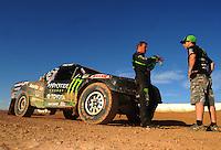 Apr 16, 2011; Surprise, AZ USA; LOORRS driver Marty Hart (left) talks with Johnny Greaves following round 3 at Speedworld Off Road Park. Mandatory Credit: Mark J. Rebilas-