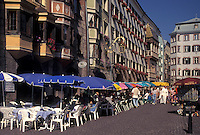outdoor café, Austria, Innsbruck, Tirol, Outdoor cafes along a cobbled pedestrian street in the city of Innsbruck.