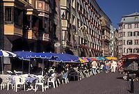 outdoor café, Austria, Innsbruck, Tirol, Outdoor cafes along a cobbled pedestrian street in the city of Innsbruck.