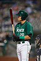 Fort Wayne TinCaps designated hitter Tirso Ornelas (28) at bat during a game against the West Michigan Whitecaps on May 17, 2018 at Parkview Field in Fort Wayne, Indiana.  Fort Wayne defeated West Michigan 7-3.  (Mike Janes/Four Seam Images)