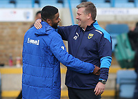 Oxford United Manager, Karl Robinson, speaks to Gillingham's Dominic Samuel at the final whistle during Gillingham vs Oxford United, Sky Bet EFL League 1 Football at the MEMS Priestfield Stadium on 10th October 2020
