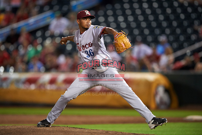 Frisco RoughRiders pitcher David Martinez (36) delivers a pitch during a game against the Springfield Cardinals  on June 4, 2015 at Hammons Field in Springfield, Missouri.  Frisco defeated Springfield 8-7.  (Mike Janes/Four Seam Images)