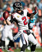 CHARLOTTE, NC - NOVEMBER 17: Matt Ryan #2 of the Atlanta Falcons throws a pass during a game between Atlanta Falcons and Carolina Panthers at Bank of America Stadium on November 17, 2019 in Charlotte, North Carolina.