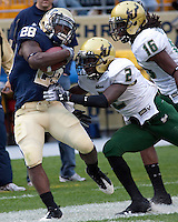 Pittsburgh Running back Dion Lewis (28) gets knocked out of bounds by USF cornerback Quenton Washington. The Pittsburgh Panthers defeated the South Florida Bulls 41-14 at Heinz Field, Pittsburgh, PA on October 24, 2009.