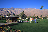 Glofing the Good Life with mountains in desert of Palm Springs Californi