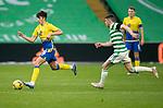 Celtic v St Johnstone…12.05.21  SPFL Celtic Park<br />Alex Fergsuon is closed down by Ryan Christie<br />Picture by Graeme Hart.<br />Copyright Perthshire Picture Agency<br />Tel: 01738 623350  Mobile: 07990 594431