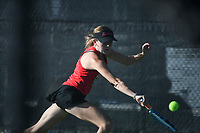 Northside's Catherine Hahn hits, Monday, October 11, 2021 during the 6A state girls and boys tennis tournament at Memorial Park in Bentonville. Check out nwaonline.com/211012Daily/ for today's photo gallery. <br /> (NWA Democrat-Gazette/Charlie Kaijo)