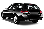 Car pictures of rear three quarter view of a 2018 Mercedes Benz C Class Base 5 Door Wagon angular rear