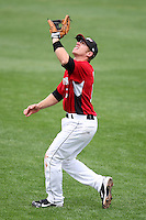 May 2, 2010:  Second Baseman Luke Hughes (18) of the Rochester Red Wings catches a fly ball during a game vs. the Durham Bulls at Frontier Field in Rochester, NY.  Rochester defeated Durham in extra innings by the score of 7-6.  Photo By Mike Janes/Four Seam Images