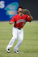 Shortstop Leury Garcia #5 of the Hickory Crawdads settles under a fly ball at L.P. Frans Stadium June 21, 2009 in Hickory, North Carolina. (Photo by Brian Westerholt / Four Seam Images)
