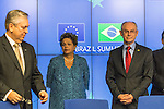 Brazilian President Dilma ROUSSEFF (2nd left) in a press conference at the end of the 7th summit EU-Brazil in Brussels, Feb.24. The focus of the summit is on improving trade ties and cooperation between the EU and Brazil, Regional issues in Latin America, as well as international security questions such as the situation in Syria.
