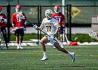 1 May 2021: University of Vermont Catamount Longstick Midfielder Nick Alviti, a Sophomore from New Fairfield, CT, in action against the Stony Brook University Seawolves at Virtue Field in Burlington, Vermont. The Cats edged out the Seawolves 14-13 with less than one second to play in their America East Men's Lacrosse matchup. With the conclusion of the regular NCAA lacrosse season, Alviti was named to the America East All-Rookie Team. Mandatory Credit: Ed Wolfstein Photo *** RAW (NEF) Image File Available ***