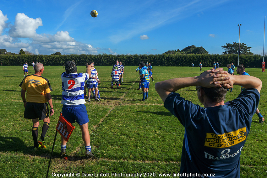 Action from the Taranaki colts club rugby match between Clifton and Tukapa at Clifton RFC in Tikorangi, New Zealand on Saturday, 12 June 2020. Photo: Dave Lintott / lintottphoto.co.nz