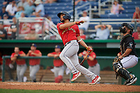 State College Spikes Stanley Espinal (21) bats during a NY-Penn League game against the Batavia Muckdogs on July 2, 2019 at Dwyer Stadium in Batavia, New York.  Batavia defeated State College 1-0.  (Mike Janes/Four Seam Images)