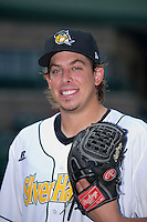 South Bend Silver Hawks pitcher Aaron Blair (32) poses for a photo before a game against the Bowling Green Hot Rods on August 20, 2013 at Stanley Coveleski Stadium in South Bend, Indiana.  Bowling Green defeated South Bend 3-2.  (Mike Janes/Four Seam Images)