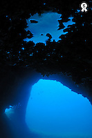 Underwater cave with arch and reflection (Licence this image exclusively with Getty: http://www.gettyimages.com/detail/95574876 )