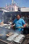 Portugal, Algarve, Alvor: Fish Restaurant grilling Sardines