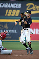 Jarren Duran (4) of the Long Beach State Dirtbags waits for a throw to second base during a game against the Nebraska Cornhuskers in the second game of a doubleheader at Blair Field on March 5, 2016 in Long Beach, California. Long Beach State defeated Nebraska, 3-1. (Larry Goren/Four Seam Images)