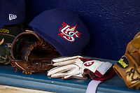 A Team USA cap in the dugout at Durham Bulls Athletic Park July 17, 2010, in Durham, North Carolina.  Photo by Brian Westerholt / Four Seam Images