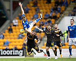 St Johnstone v Motherwell…08.08.21  McDiarmid Park<br />David Wotherspoon collides with Callum Slattery<br />Picture by Graeme Hart.<br />Copyright Perthshire Picture Agency<br />Tel: 01738 623350  Mobile: 07990 594431
