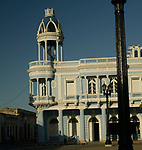 Morning light and shadow in the central square  in the coastal city of Cienfuegos, Cuba.