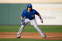 Dunedin Blue Jays PK Morris (12) leads off first base during a game against the Lakeland Flying Tigers on June 8, 2021 at Joker Marchant Stadium in Lakeland, Florida.  (Mike Janes/Four Seam Images)