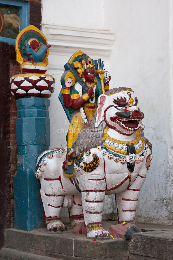 Kathmandu, Nepal.  A Stone Lion Ridden by Shiva Guards the Right Side of the Entrance to the Hanuman Dhoka, a Former Royal Palace, Durbar Square.