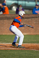 Kier Meredith (2) of the Glenn Bobcats squares to bunt against the Mallard Creek Mavericks at Dale Ijames Stadium on March 22, 2017 in Kernersville, North Carolina.  The Bobcats defeated the Mavericks 12-2 in 5 innings.  (Brian Westerholt/Four Seam Images)