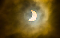 20/03/15  <br /> <br /> Today's partial solar eclipse makes a brief appearance through cloud above Worksop, Nottinghamshire.<br /> <br /> All Rights Reserved - F Stop Press.  www.fstoppress.com. Tel: +44 (0)1335 418629 +44(0)7765 242650