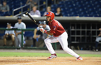 Clearwater Threshers shortstop J.P. Crawford (2) game winning base hit during a game against the Tampa Yankees on June 26, 2014 at Bright House Field in Clearwater, Florida.  Clearwater defeated Tampa 4-3.  (Mike Janes/Four Seam Images)