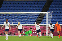 YOKOHAMA, JAPAN - JULY 30: Alyssa Naeher #1 of the United States makes a save during a game between Netherlands and USWNT at International Stadium Yokohama on July 30, 2021 in Yokohama, Japan.