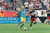 FOXBOROUGH, MA - AUGUST 8: Jakob Glesnes #5 of Philadelphia Union dribbles during a game between Philadelphia Union and New England Revolution at Gillette Stadium on August 8, 2021 in Foxborough, Massachusetts.