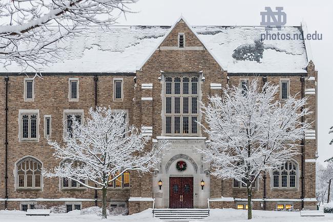 Jan. 5, 2013; Biolchini Hall of Law in winter.<br /> <br /> Photo by Matt Cashore/University of Notre Dame