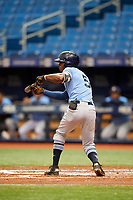 K.V. Edwards (5) squares around to bunt during the Tampa Bay Rays Instructional League Intrasquad World Series game on October 3, 2018 at the Tropicana Field in St. Petersburg, Florida.  (Mike Janes/Four Seam Images)