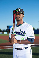 Hillsboro Hops infielder Keshawn Lynch (8) poses for a photo before a Northwest League game against the Salem-Keizer Volcanoes at Ron Tonkin Field on September 1, 2018 in Hillsboro, Oregon. The Salem-Keizer Volcanoes defeated the Hillsboro Hops by a score of 3-1. (Zachary Lucy/Four Seam Images)