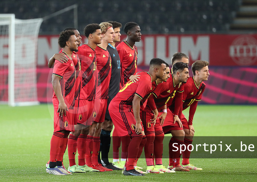 Team photo of Belgium taken before a soccer game between the national teams Under21 Youth teams of Belgium and Kazakhstan on the third matday in group I for the qualification for the Under 21 EURO 2023 , on friday 8 th of october 2021  in Leuven , Belgium . PHOTO SPORTPIX   SEVIL OKTEM