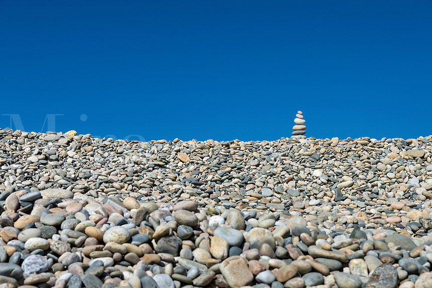 Rock cairn on Stonewall Beach, Chilmark, Matha's Vineyard, Massachusetts, USA