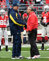 November 22, 2008. Michigan head coach Rich Rodriguez (left) and Ohio State head coach Jim Tressel shake hands before the game. The Ohio State Buckeyes defeated the Michigan Wolverines 42-7 on November 22, 2008 at Ohio Stadium, Columbus, Ohio.