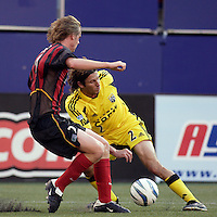 The Crew's Frankie Hejduk reverses direction on the MetroStars' Eddie Gaven. The MetroStars and the Columbus Crew played to a 1-1 tie at Giant's Stadium, East Rutherford, NJ on Sunday August 29, 2004.