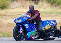 Oct 18, 2020; Ennis, Texas, USA; NHRA pro stock motorcycle rider Michael Phillips during the Fall Nationals at Texas Motorplex. Mandatory Credit: Mark J. Rebilas-USA TODAY Sports