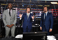 ARLINGTON, TX - DECEMBER 5: (L-R) Lennox Lewis, Brian Kenny, and Joe Goossen before the Errol Spence Jr. v Danny Garcia fight on Fox Sports PBC Pay-Per-View fight night at AT&T Stadium in Arlington, Texas on December 5, 2020. (Photo by Frank Micelotta/Fox Sports)