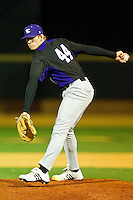 Relief pitcher Jack Quigley #44 of the Northwestern Wildcats in action against the Wake Forest Demon Deacons at Gene Hooks Field on February 26, 2011 in Winston-Salem, North Carolina.  Photo by Brian Westerholt / Four Seam Images