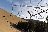 Encroaching sand dunes at the tourist attraction Ming Sha Shan. Desertification is the process by which fertile land becomes desert, typically as a result of drought, deforestation, or inappropriate agriculture. Dunhuang, Gansu Province. China