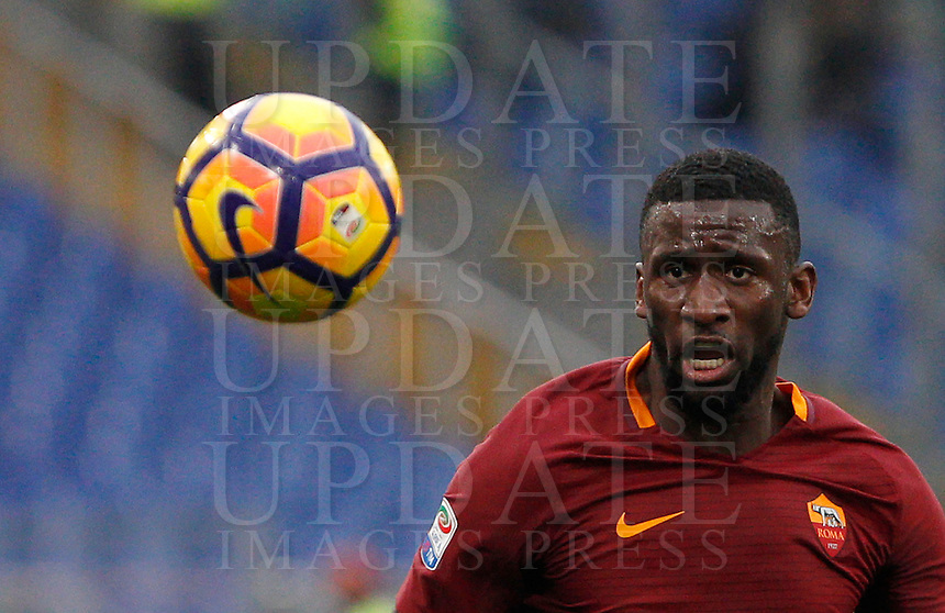 Roma's Antonio Ruediger eyes the ball during the Italian Serie A football match between Roma and Napoli at Rome's Olympic stadium, 4 March 2017. <br /> UPDATE IMAGES PRESS/Riccardo De Luca