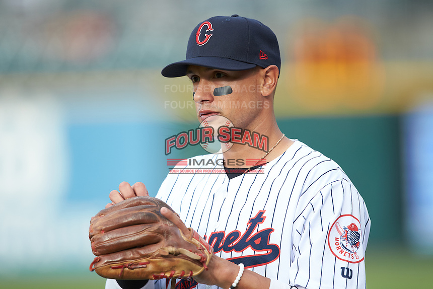 Ryan Goins (1) of the Charlotte Hornets prior to the game against the Louisville Bats at BB&T BallPark on June 22, 2019 in Charlotte, North Carolina. The Hornets defeated the Bats 7-6. (Brian Westerholt/Four Seam Images)