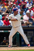 Philadelphia Phillies first baseman Ty Wigginton #24 at bat during the Major League Baseball game against the Pittsburgh Pirates on June 28, 2012 at Citizens Bank Park in Philadelphia, Pennsylvania. The Pirates defeated the Phillies 5-4. (Andrew Woolley/Four Seam Images).