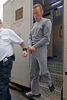 Pictured: Jason Shaun Farrell, 49, arrives at Swansea Magistrates Court, charged with the murder of 22 year old Sammy Lee Lodwig, who died in Carlton Terrace, Swansea, Wales, UK. Monday 29 April 2019