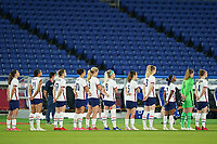 YOKOHAMA, JAPAN - JULY 30: Players of the United States singing the national anthem before a game between Netherlands and USWNT at International Stadium Yokohama on July 30, 2021 in Yokohama, Japan.